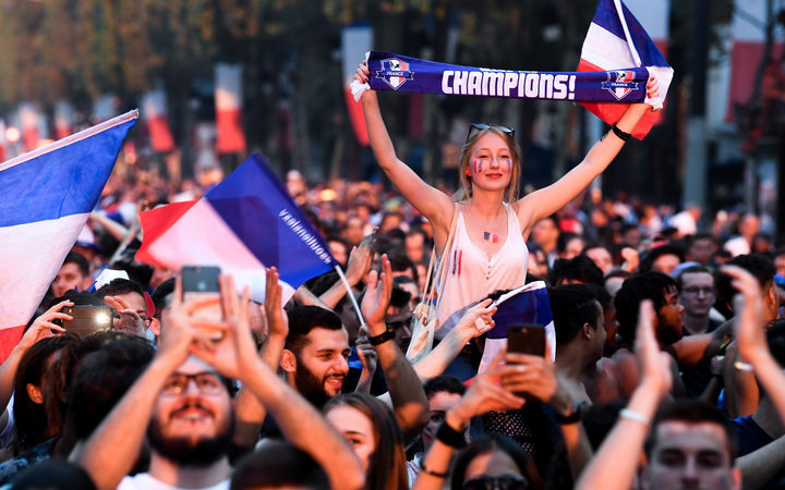 Celebrations on the Champs-Elysees in Paris