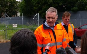 KiwiRail chief executive Peter Reidy, left, and general manager of network services, Todd Moyle, address media.