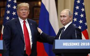 President of the US Donald Trump and President of Russia Vladimir Putin during the joint news conference following their meeting in Helsinki.