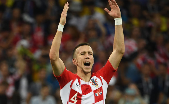 Croatia's forward Ivan Perisic gestures during the Russia 2018 World Cup final.