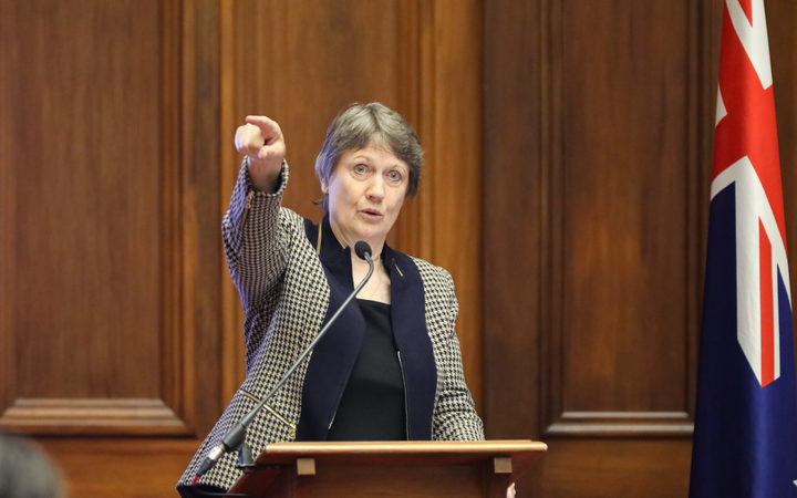 Helen Clark indicates where they created a partitioned area for women MPs amongst the men's billiard tables