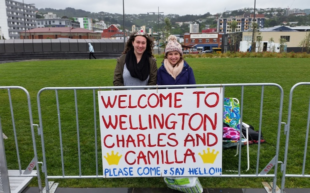 Wellington fans await Charles and Camilla.