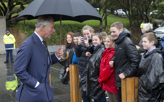Prince Charles and his wife, Camilla, attended a wreath-laying ceremony at the Pukeahau National Memorial Park in front of a crowd of about 100 people.