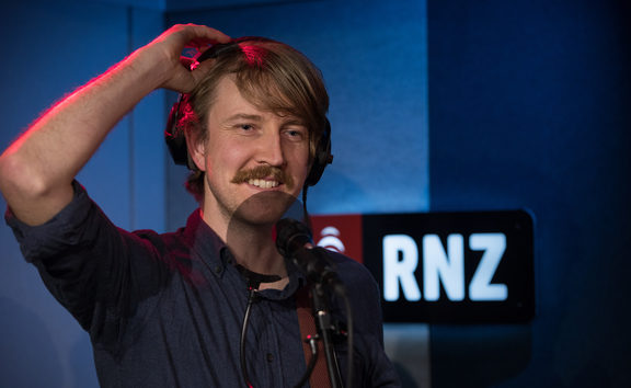 Lawrence Arabia, the artist and composer also known as James Milne, in the RNZ Auckland studio for NZ Live. 20 July 2018.