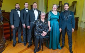 Lexus Finalists 2018 (L-R) Manase Latu, Joe Haddow, Joel Amosa, Eliza Boom, Felipe Manu with Adjudicator Lisa Gasteen