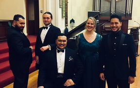 Finalists of the Lexus Song Quest 2018. L-R: Manase Latu, Joe Haddow, Joel Amosa, Eliza Boom, Filipe Manu.