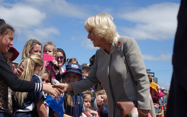 The Duchess of Cornwall greets young fans at Mosgiel Railway Station.