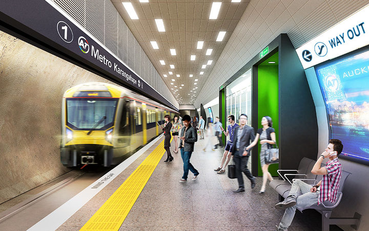 A platform view of the proposed Karangahape Road station (artist's impression)