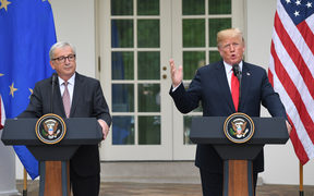 US President Donald Trump and European Commission President Jean-Claude Juncker making a statement at the White House.
