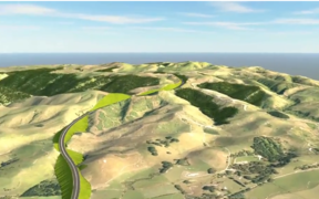 A draft visualisation of the proposed replacement for the Manawatū Gorge area.