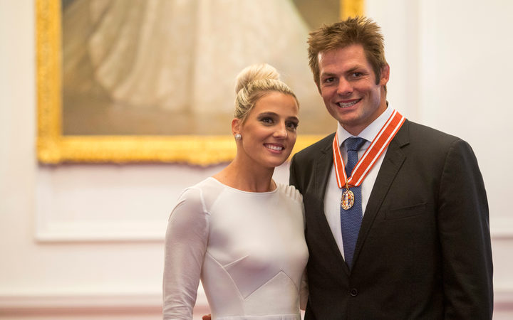 Former All Blacks captain, Richie McCaw and partner, Gemma Flynn, after he was awarded the the ONZ for services to New Zealand by the the Governor General, Lt Gen the Rt Hon Sir Jerry Mataparae, Government House, Wellington, New Zealand. Thursday, 14 April, 2016.