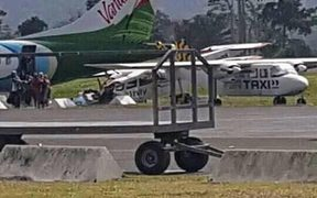 The Air Vanuatu ATR Aircraft  that was forced to make an emergency landing.