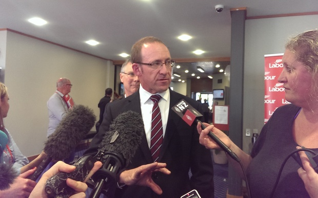 Andrew Little speaks to media at the Labour Party's annual conference in Palmerston North.