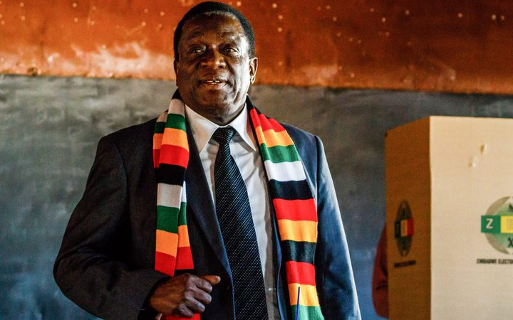 Zimbabwe President and candidate Emmerson Mnangagwa pictured after casting his ballot
