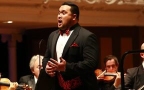 Joel Amosa sings with the NZSO at the Lexus Song Quest Grand Final