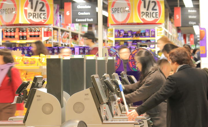 Shoppers at a Coles supermarket in Melbourne