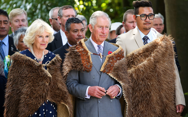 Prince Charles and Camilla wear korowai presented to the the Queen and Prince Philip on their New Zealand tour in 1954.