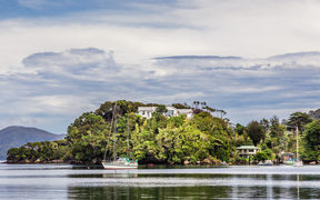 Stewart Island aka Rakiura, the third largest island in the country. Oban, view across,Golden Bay.