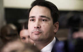 National Party leader Simon Bridges fields media questions before heading into the House.