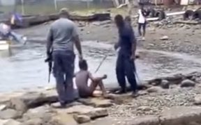 A screenshot of a torture video which went viral in PNG in August 2018.