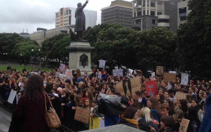 Wellington students marching to Parliament in 2017 to demand compulsory consent education in all schools.