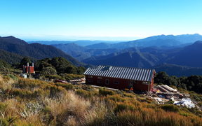 Moonlight Tops Hut on the new Paparoa track