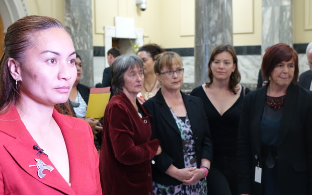 Green MP Marama Davidson in foreground.