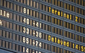 An airport departures' board (stock image)