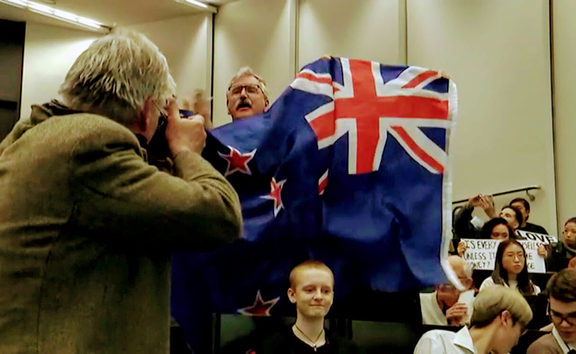 Uproar gets attention as Don Brash speaks  at Auckland University last Thursday.
