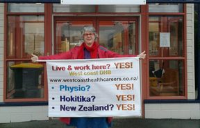 Occupational therapist Terry Gee is campaigning everywhere she can to get the West Coast DHB a new physiotherapist.