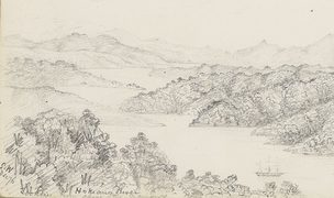 A landscape drawing of the Hokianga River, made by an early surveyor in his field notebook in December 1876.