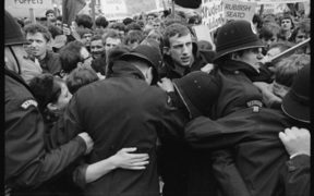 Police struggling to contain student protestors at the opening of Parliament June 1968