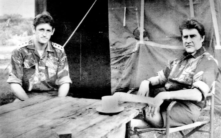 Author Michaal Graham (l) with Rhodesian Minister of Defence Pieter 'PK' van der Byl
