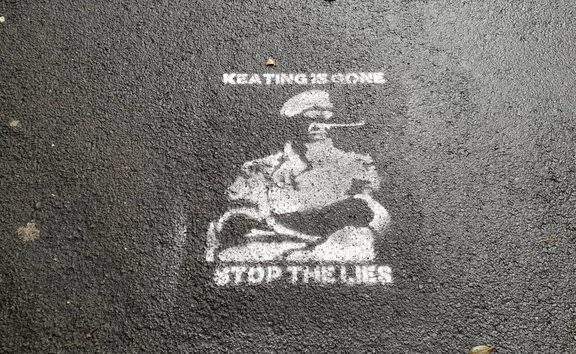 Graffiti has popped up on the streets of Wellington referring to the recently departed chief of Defence Tim Keating.