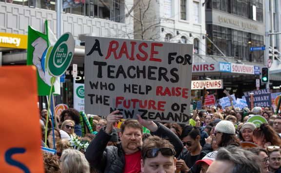 Families and children were out in force on Queen Street to support teachers on strike.