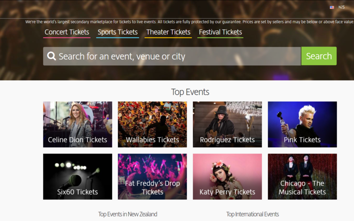 A snapshot of the Viagogo website.