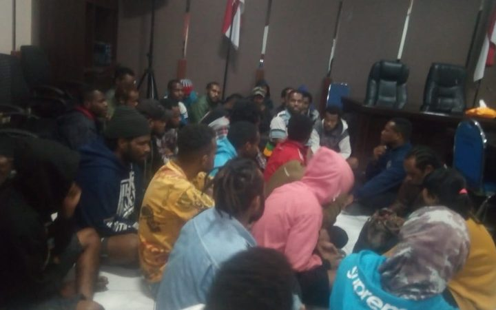 The protesters were arrested and held in the Surabaya police station.