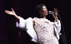 Aretha Franklin performs onstage in New York City earlier this year.