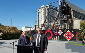 Bishop Victoria Matthews and Earthquake Recovery Minister Gerry Brownlee at today's announcement