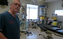 Christchurch surgeon, Philip Bagshaw, in an operating theatre at the city's charity hospital.
