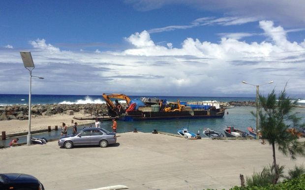 Waimarie barge in Avatiu Harbour, Rarotonga being loaded before heading to the outer islands.