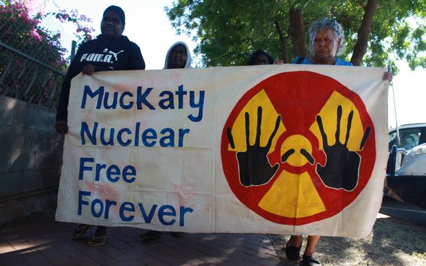 Protesters rally against the placement of a nuclear waste dump at Muckaty Station (AAP Image/Neda Vanovac) EDITORIAL USE ONLY, NO ARCHIVING