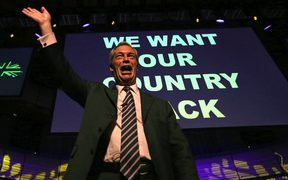 Nigel Farage at an EU Referendum campaign in 2016.