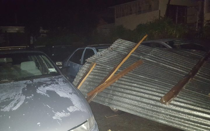 Damage from the tornado which struck New Plymouth.