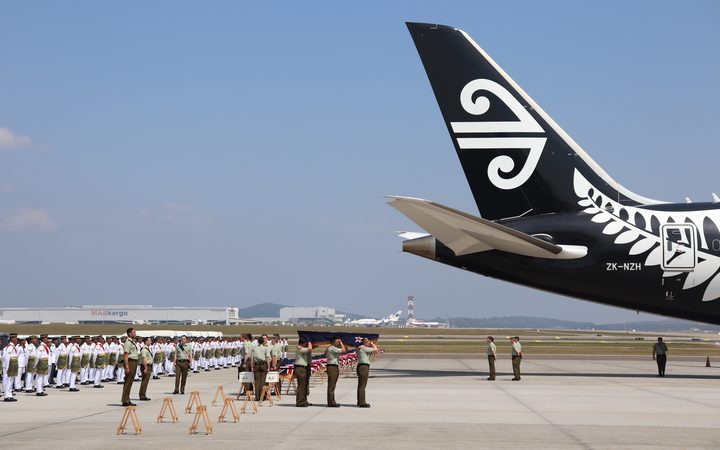 Malaysian Armed Forces and NZ Defence Force personnel at the departure ceremony at Kuala Lumpur International Airport.