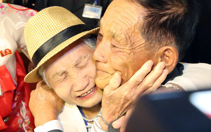 South Korean Lee Keum-seom, 92 meets with her North Korean son Ri Sung Chol, 71 during a separated family reunion meeting at the Mount Kumgang resort on the North's southeastern coast
