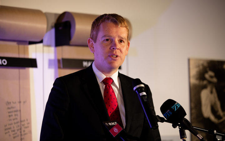 State Services Minister Chris Hipkins speaks to media at the Auckland Museum about closing the gender pay gap.