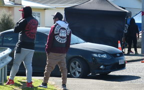 Mongrel Mob members at the Puriri Street cordon