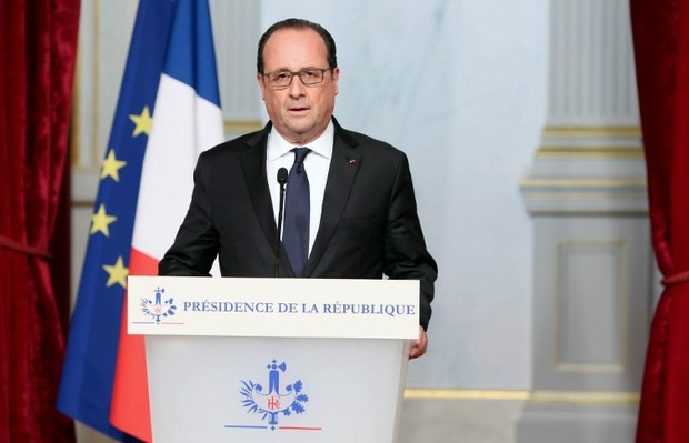 French president Francois Hollande adresses the nation