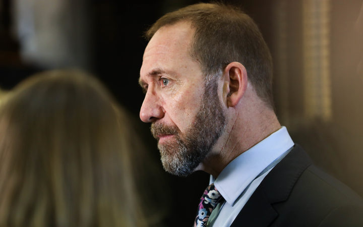 Minister for Justice Andrew Little answers media questions before heading into the debating chamber.